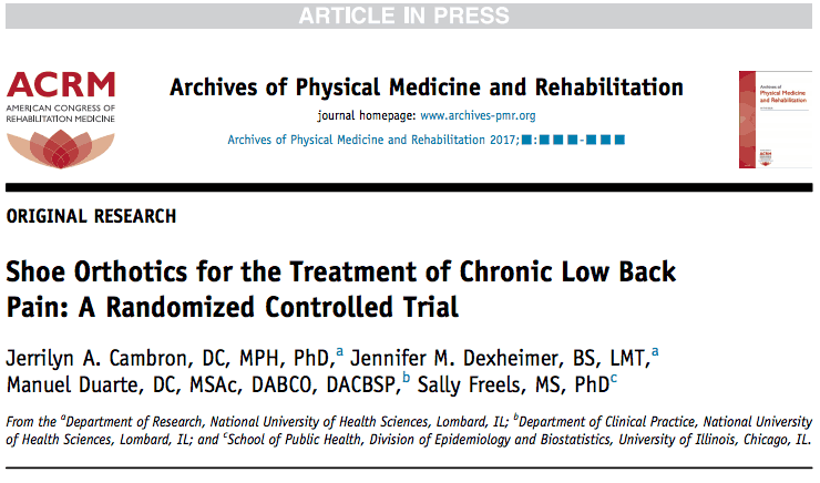 Shoe Orthotics for the Treatment of Chronic Low Back Pain: A Randomized Controlled Trial